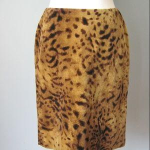 Vintage 90s Velour Animal Print Mini Pencil Skirt